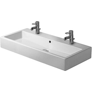 Read Reviews Vero Ceramic 48 Wall Mount Bathroom Sink with Overflow By Duravit