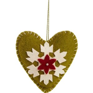 Heart Applique Christmas Ornament (Set of 3)