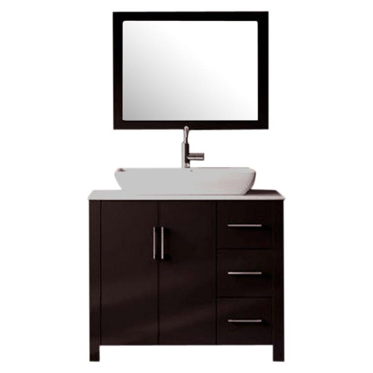 36 single free standing bathroom vanity set with mirror reviews allmodern for Free standing bathroom vanities