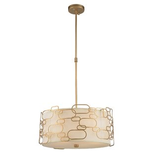 Everly Quinn Lilianna Linen/Metal 5-Light Pendant