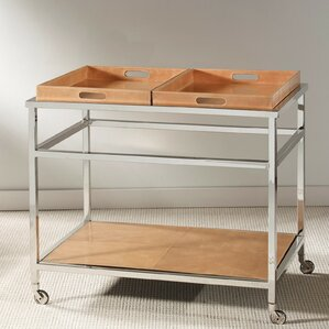 Iraheta Rectangle Leather Bar Cart by Bra..