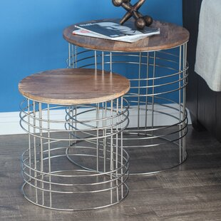 Metal/Wood 3 Piece End Table Set