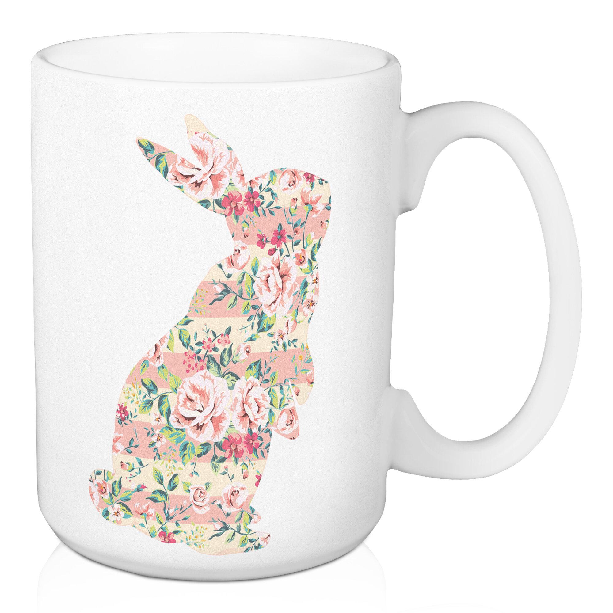 August Grove Choi Standing Floral Bunny Coffee Mug Wayfair