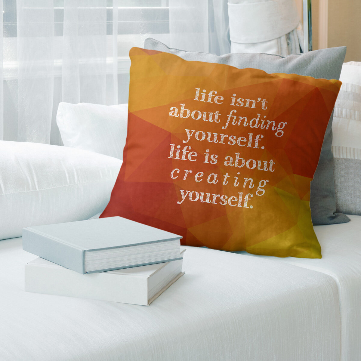 East Urban Home Faux Gemstone Creating Yourself Quote Pillow Cover Wayfair