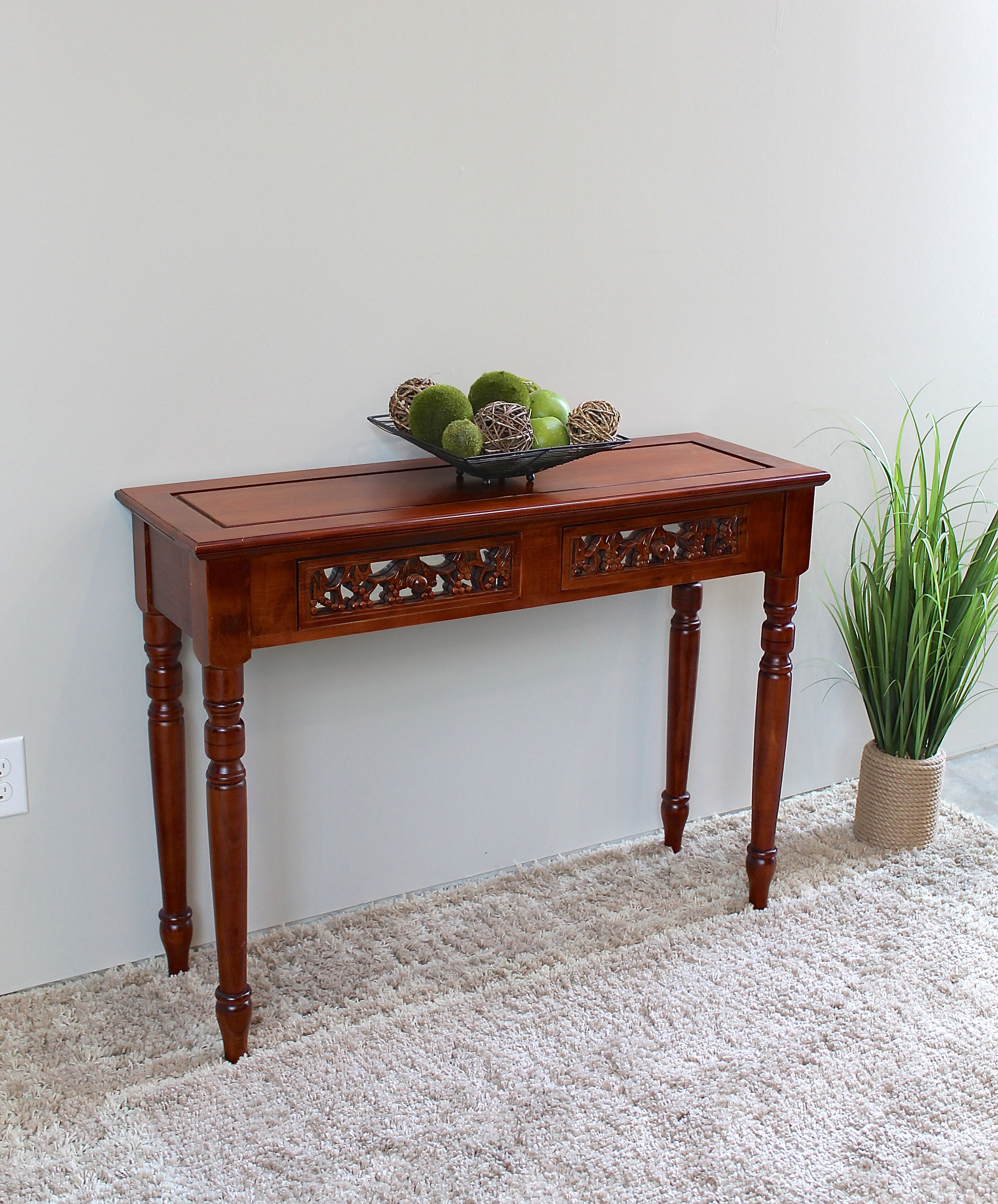 Windsor Hand Carved Wood 2 Drawer Indoor Console Table
