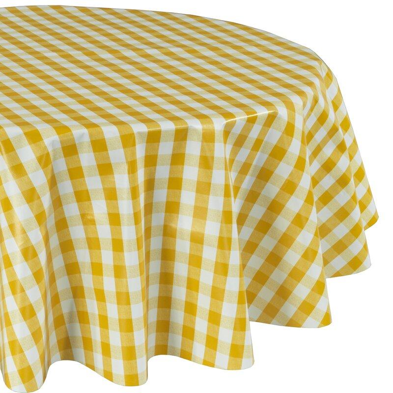 Turlock Round Checkered Non Woven Backing Kitchen Picnic Tablecloth