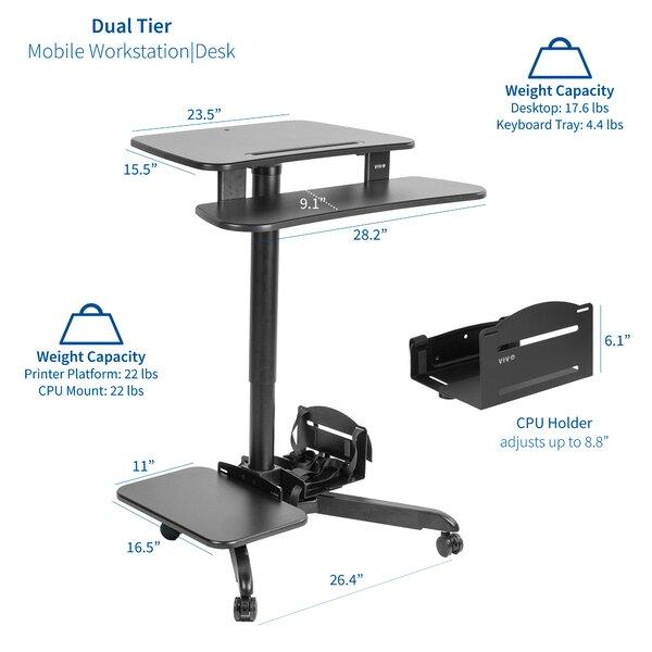 Vivo Mobile Pneumatic Stand Up Presentation Adjustable Laptop Cart Wayfair
