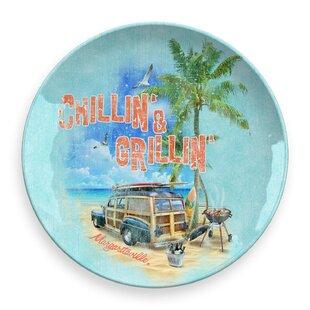 Margaritaville Chillin' & Grillin' Scene Round Melamine Platter