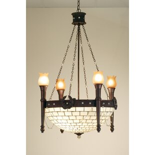 Meyda Tiffany Torch and Wreath 4-Light Shaded Chandelier