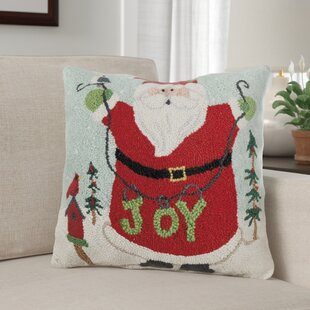 Maskell Happy Santa Joy Wool Throw Pillow by The Holiday Aisle Fresh