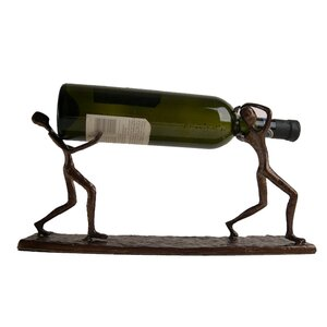 Two Men Carrying 1 Bottle Tabletop Wine Rack