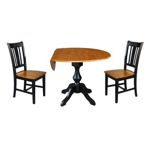 Augu Round Top Pedestal Extending 3 Piece Drop Leaf Solid Wood Dining Set