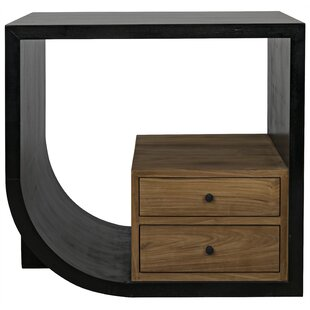 Burton End Table with Storage by Noir