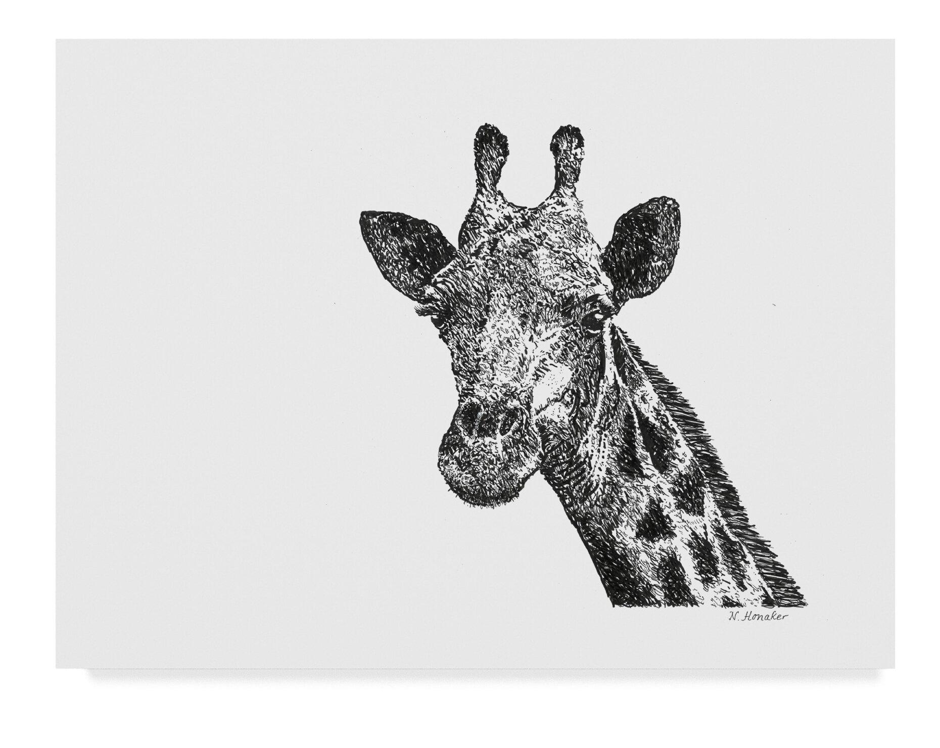 East Urban Home Giraffe Line Art Graphic Art Print On Wrapped Canvas Wayfair