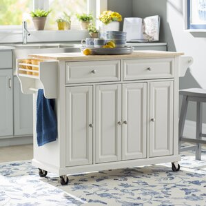 Comte Kitchen Cart/Island with Natural Wood Top by August Grove