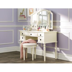 Three Posts Brownridge 5 Drawer Vanity Set with Mirror