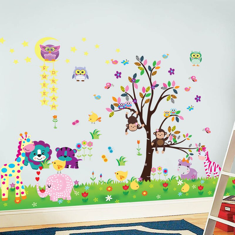 Happy Animals With Owl Tree Star And Little Chick Grass Wall Decal