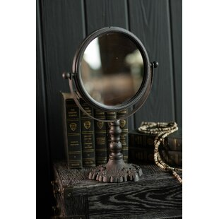 Find for Loretta Round Cast Iron Pivoting Makeup/Shaving Mirror By Canora Grey