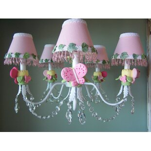 Silly Bear Lighting Pink Flutter Butterfly 3-Light Shaded Chandelier