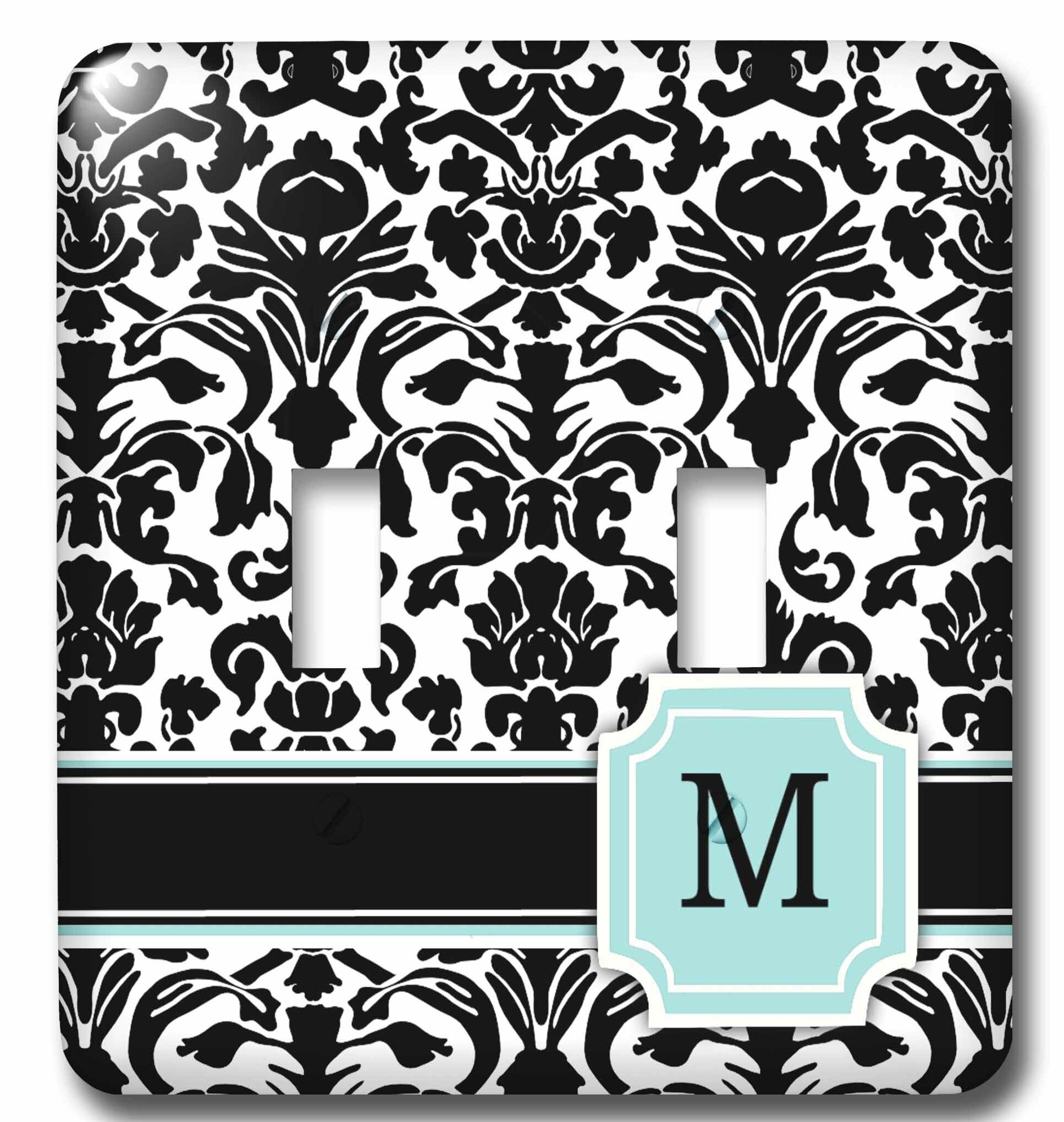 3drose Letter M Personal Monogrammed Damask Pattern 2 Gang Toggle Light Switch Wall Plate Wayfair