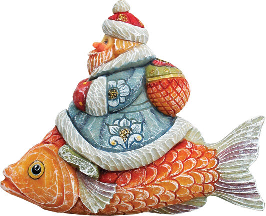 The Holiday Aisle Fifield Santa On Fish Figurine Ornament Derevo Collection Reviews Wayfair