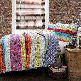 Kozlowski Rainbow Stripe Reversible Quilt Set by World Menagerie