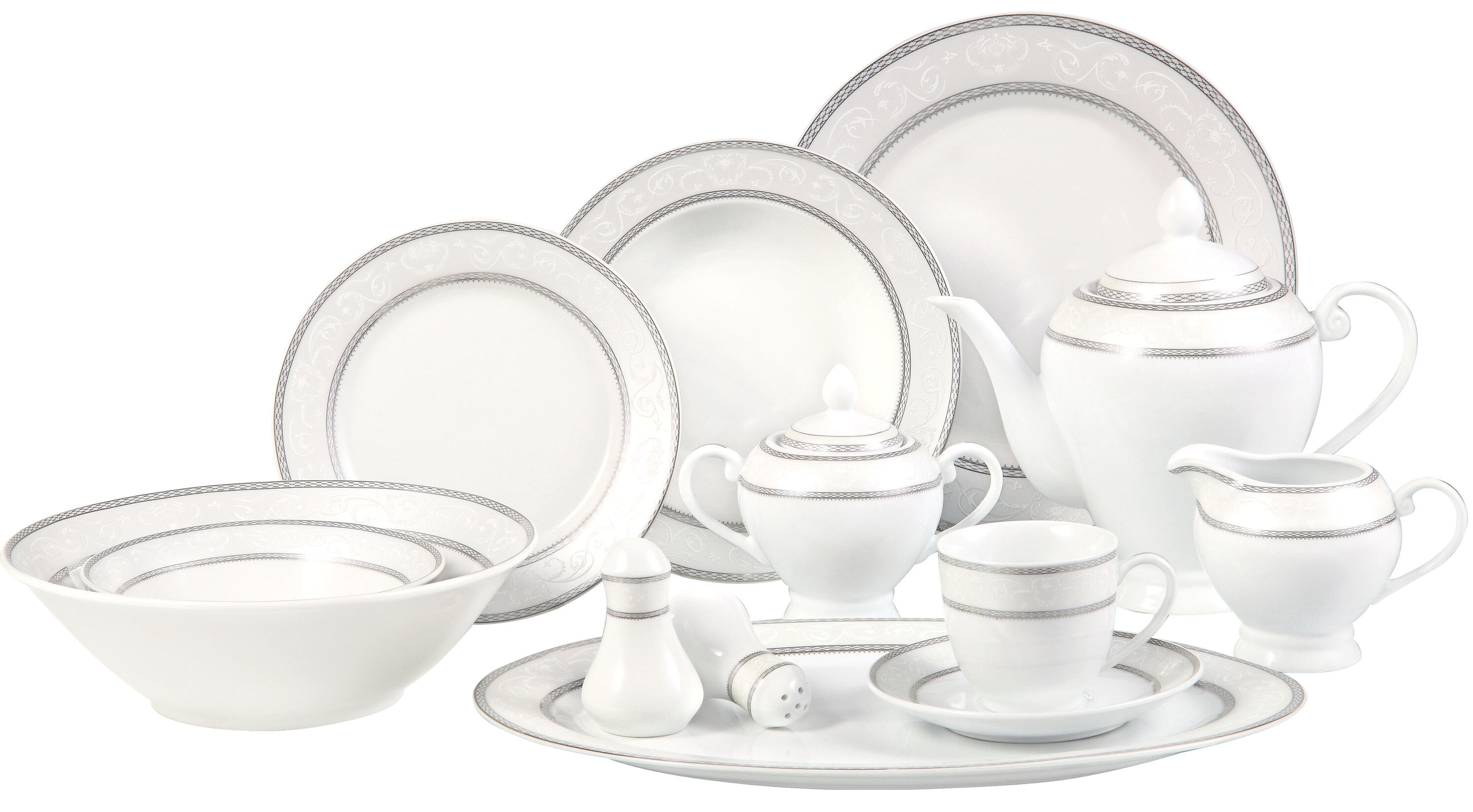 Lorren Home Trends Sirena 57 Piece Dinnerware Set Service For 8 Reviews Wayfair