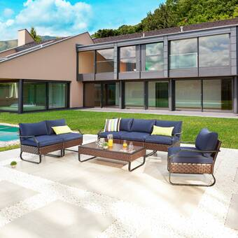 Breakwater Bay Chiasson Outdoor 7 Piece Sofa Seating Group With Cushions Wayfair
