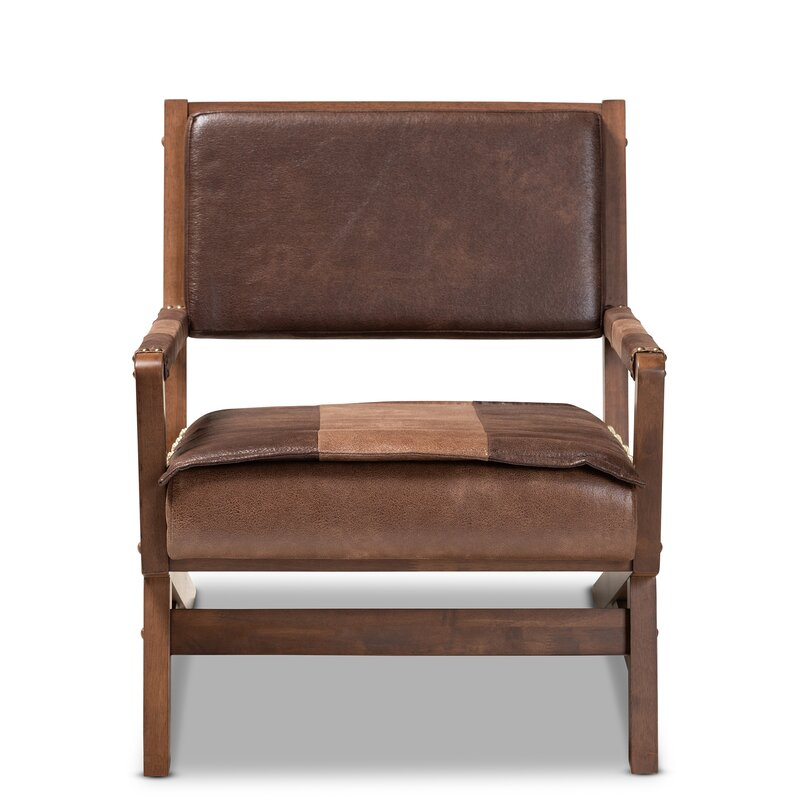 Attirant Giovanny Faux Leather Upholstered Wood Lounge Chair