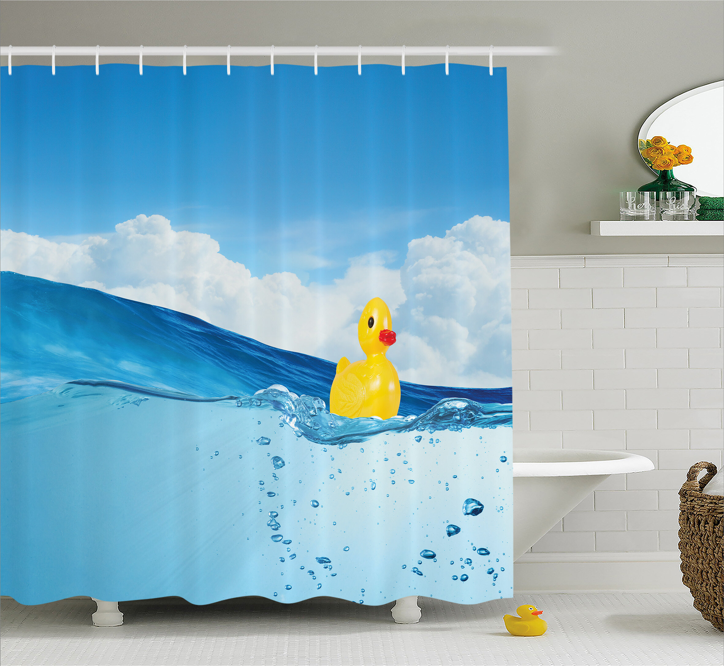 East Urban Home Rubber Duck Swimming in Pool Shower Curtain + Hooks ...