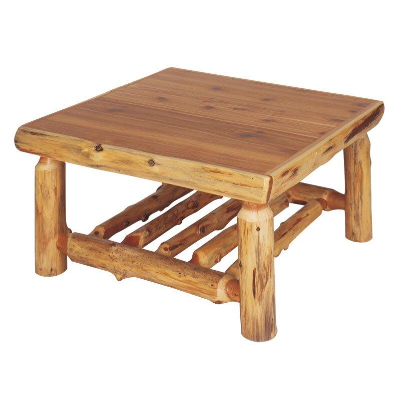 Square Cedar Log Coffee Table