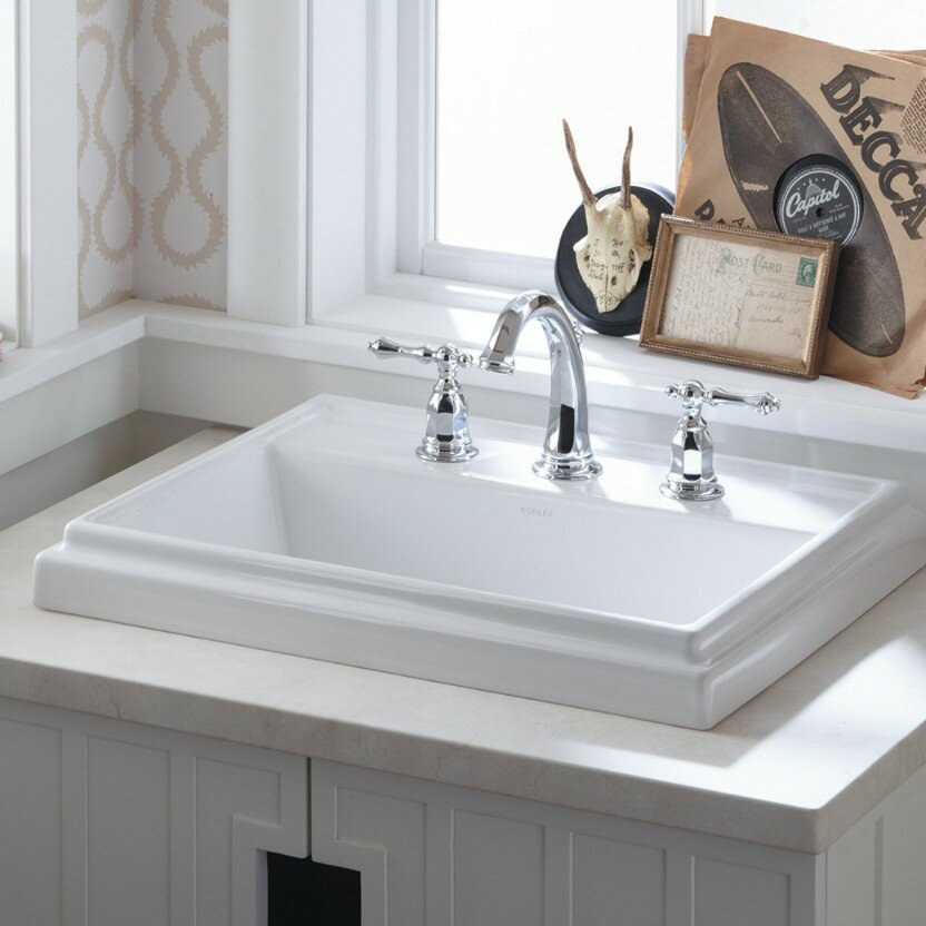 K 2991 8 0 1 0 4 0 Kohler Tresham Ceramic Rectangular Drop In Bathroom Sink With Overflow Reviews Wayfair