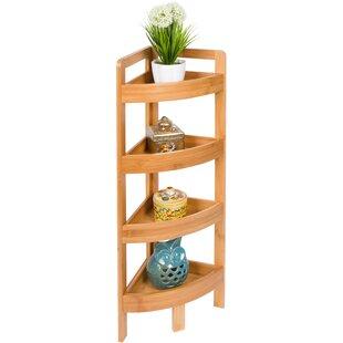 Rebrilliant 4 Tier Bamboo Storage Corner Unit Bookcase