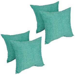 Heming Aqua Outdoor Throw Pillow (Set of 4)