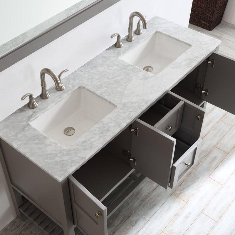 Caldwell 60 Double Bathroom Vanity Set With Mirror