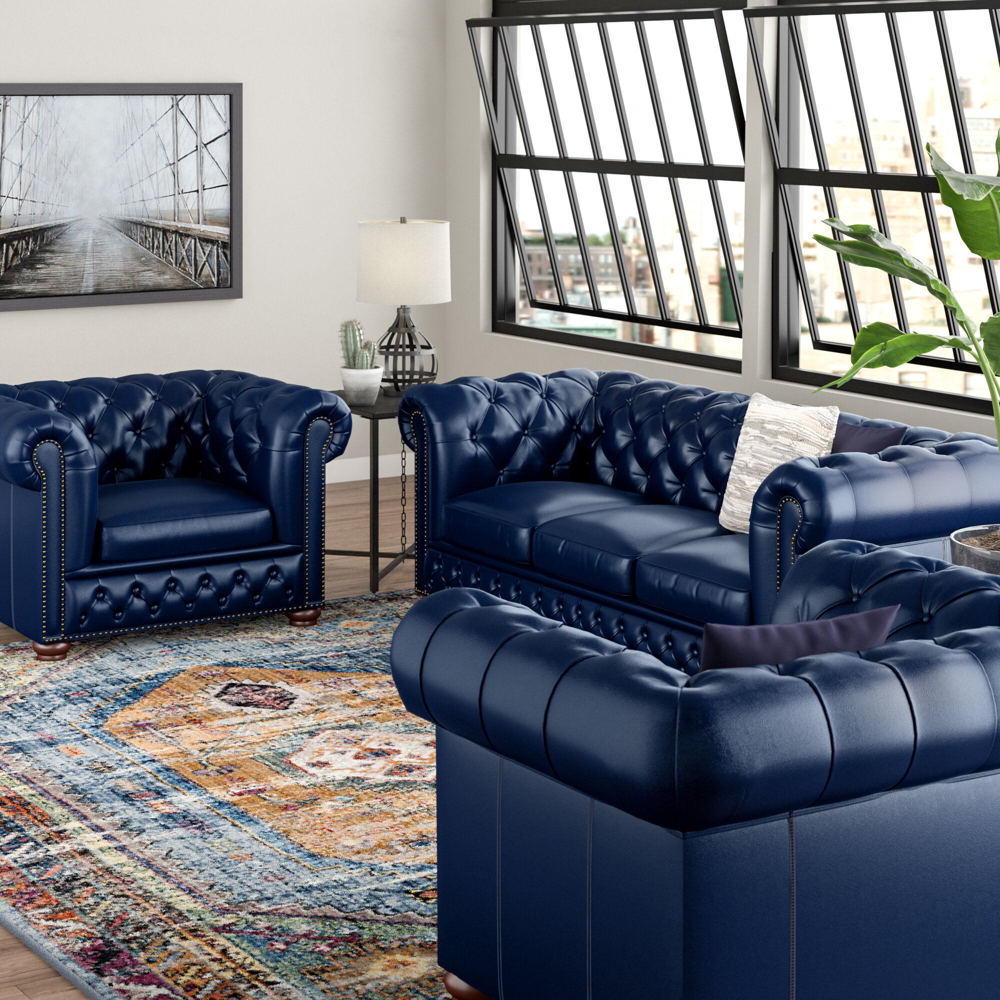 Forsyth 3 Piece Leather Living Room Set