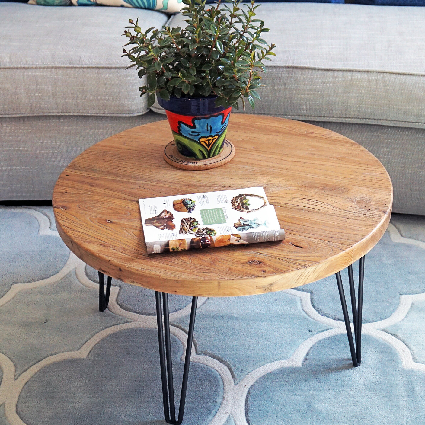 Foundry Select Cornelius Old Elm Rustic Round Coffee Table