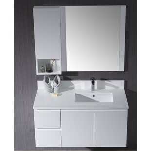 Maly 42 Wall-Mounted Single Bathroom Vanity Set with Mirror By Orren Ellis