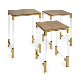 Winding Leatherette Upholstered 3 Piece Nesting Tables (Set of 3)