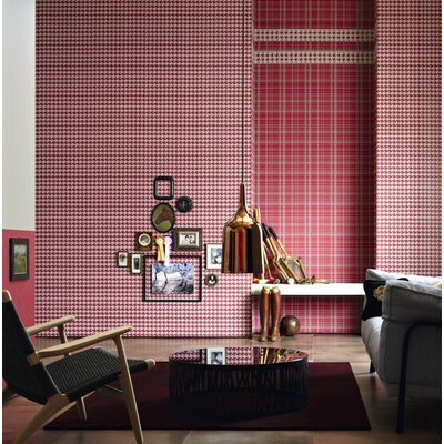 "Lampert 33' L x 21"" W Houndstooth Peel and Stick Wallpaper Roll Red Barrel Studio"
