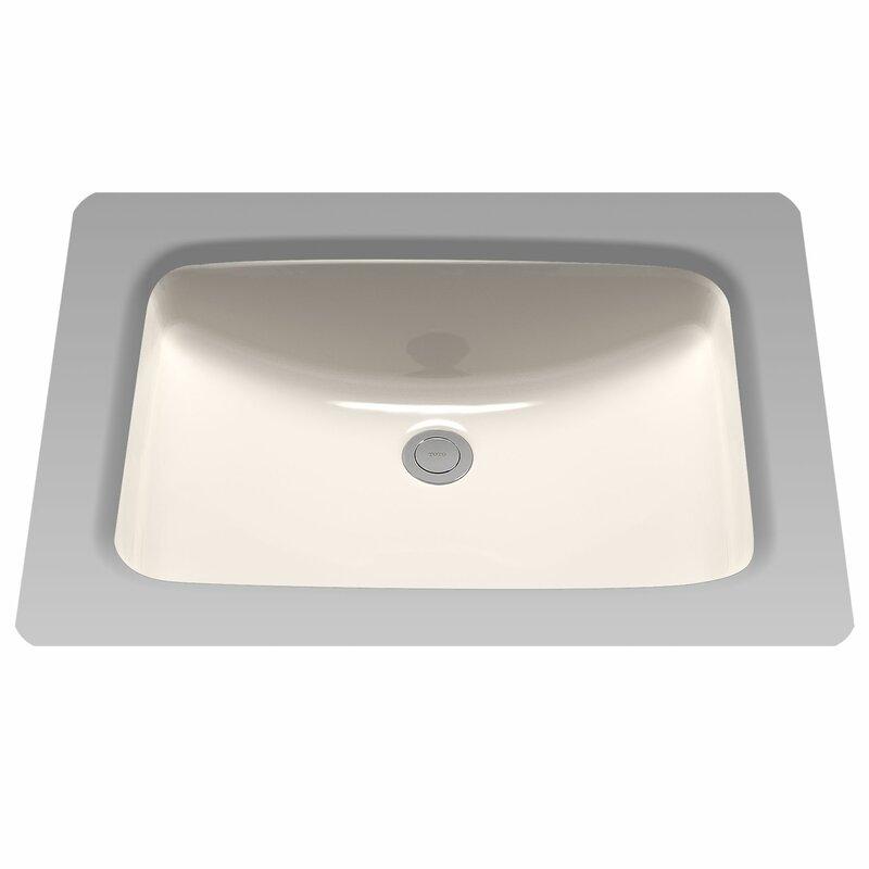 Augusta Decorative Ceramic Rectangular Undermount Bathroom Sink with  Overflow