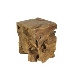 Yellow Pine Teak Square Decorative Stool By Union Rustic