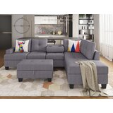 Daretta 104 Wide Right Hand Facing Sofa & Chaise with Ottoman by Latitude Run®