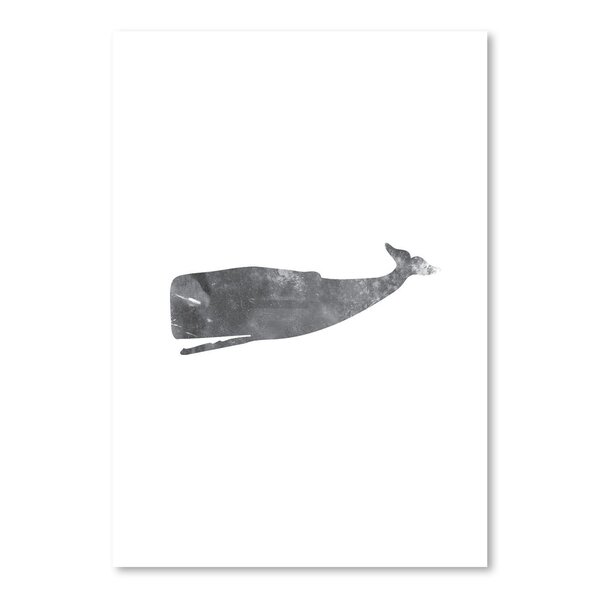 Breakwater Bay Black White Grunge Whale Poster Gallery Graphic Art Wayfair