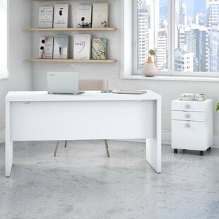 Kathy Ireland Office by Bush Echo Credenza 2 Piece Desk Office Suite with Mobile File Cabinet