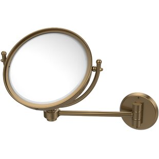 Allied Brass Wall Mounted Make-Up 5X Magnification Mirror with Groovy Detail