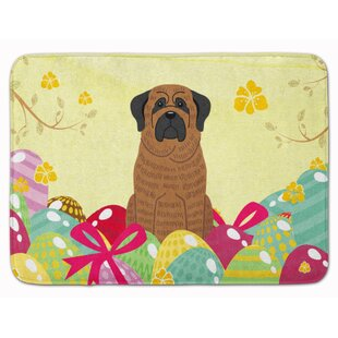Easter Eggs Mastiff Brindle Memory Foam Bath Rug