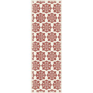 Clearance Cotner Modern European Design Red/White Indoor/Outdoor Area Rug By Bungalow Rose