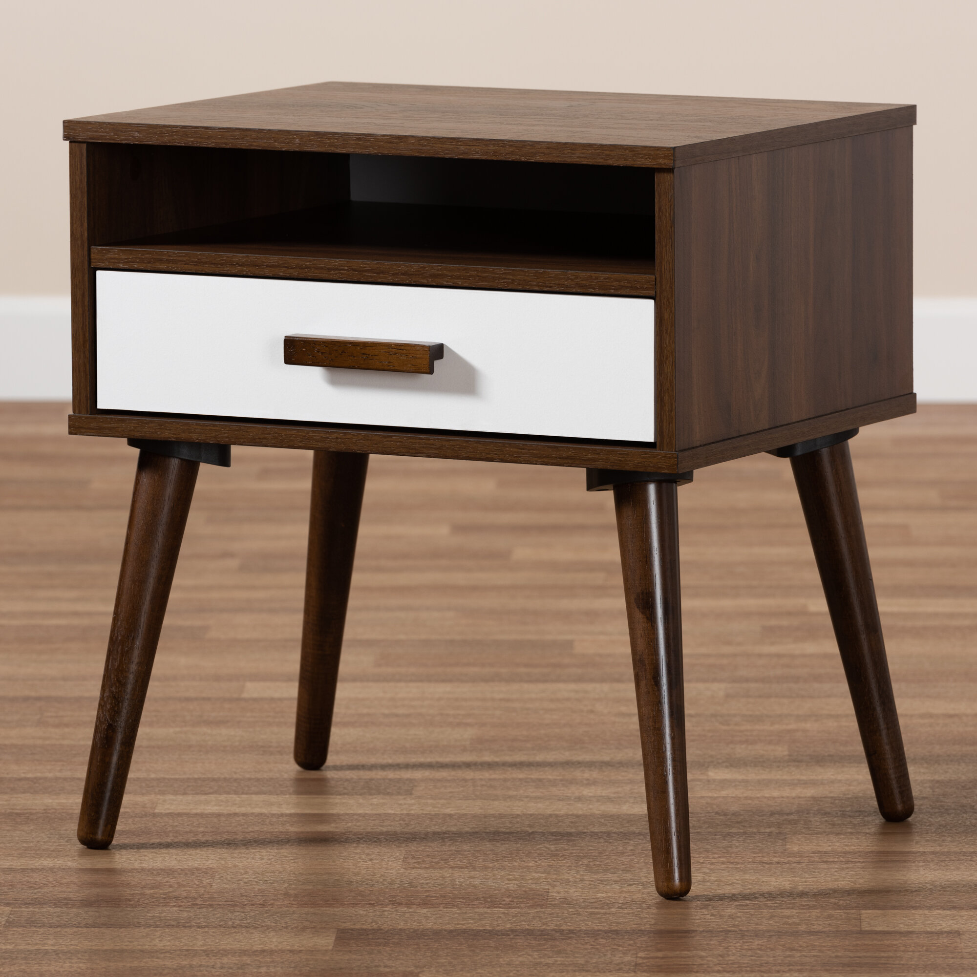 Image of: Union Rustic Revis Mid Century Modern Two Tone White And Walnut Finished 1 Drawer Wood End Table Wayfair