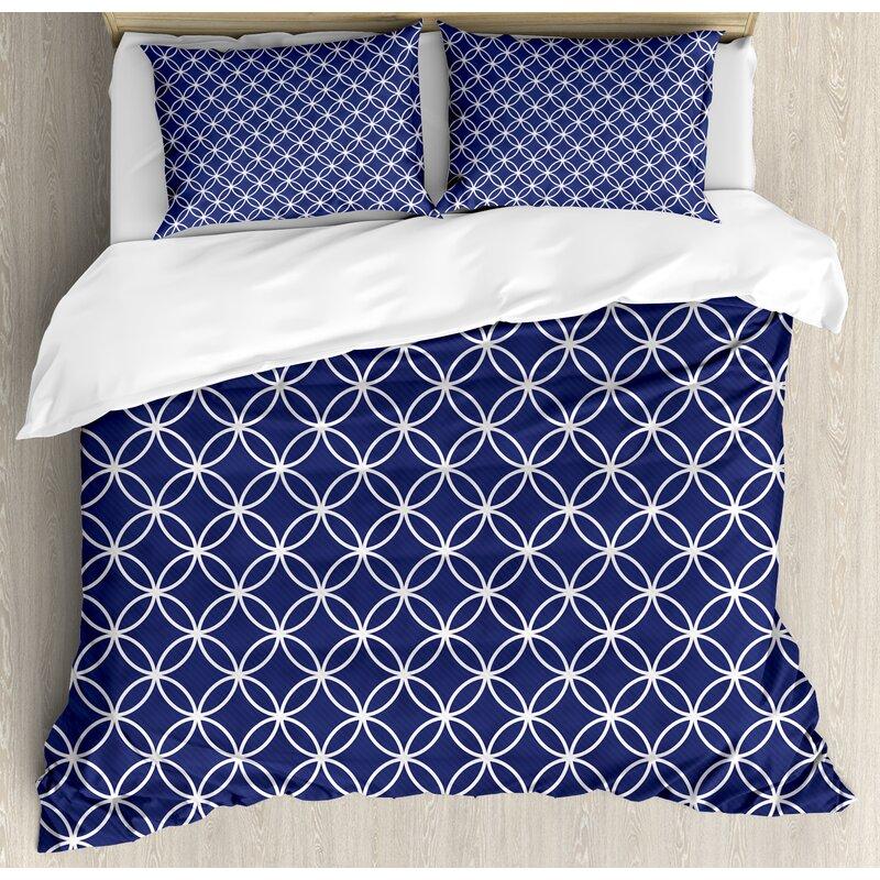 Trellis Inspired Pattern Quatrefoil Circles Moroccan Style Tile Theme Duvet Cover Set